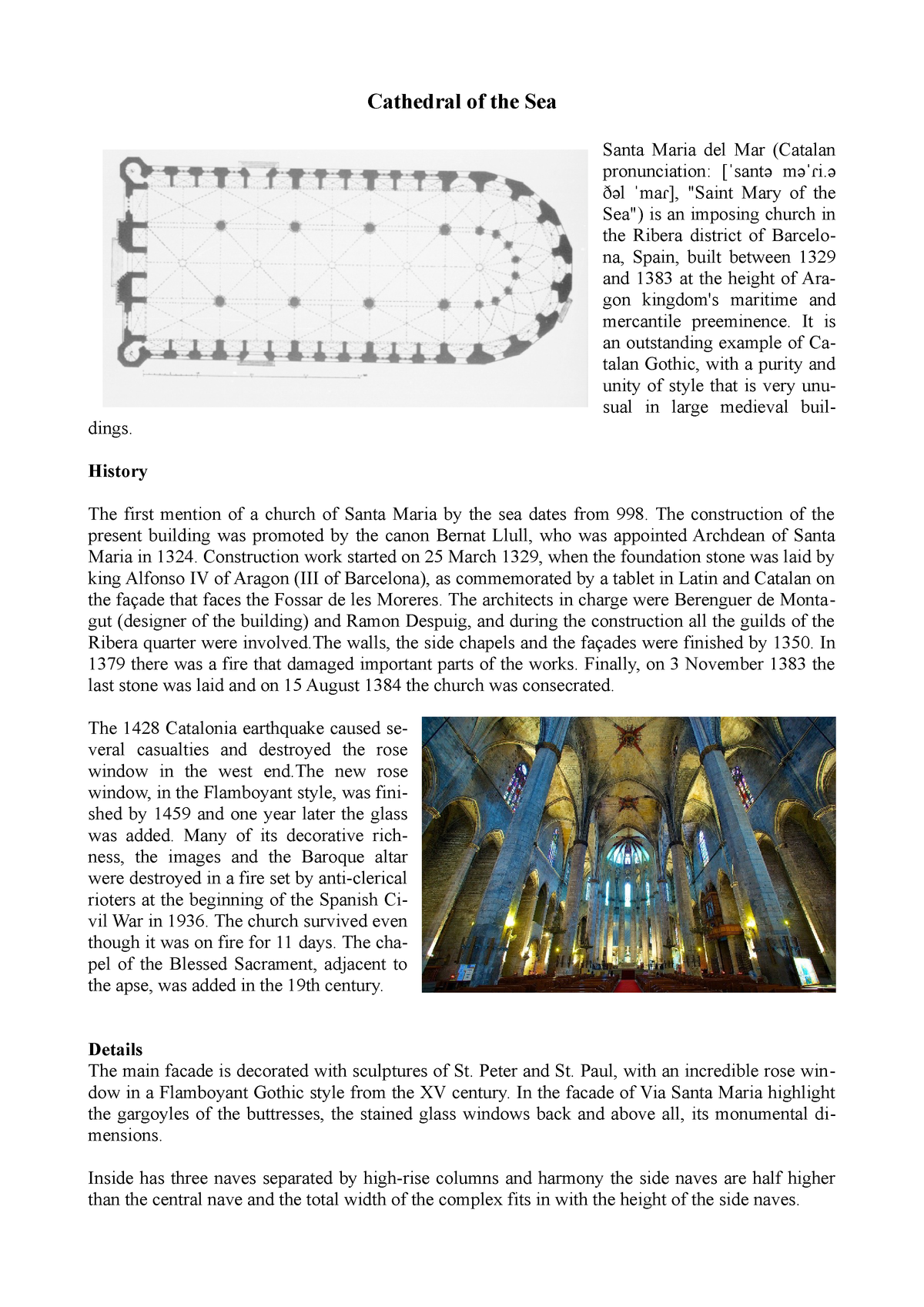 9 Saint Mary of the Sea - Barcelona Cathedral of the sea, history