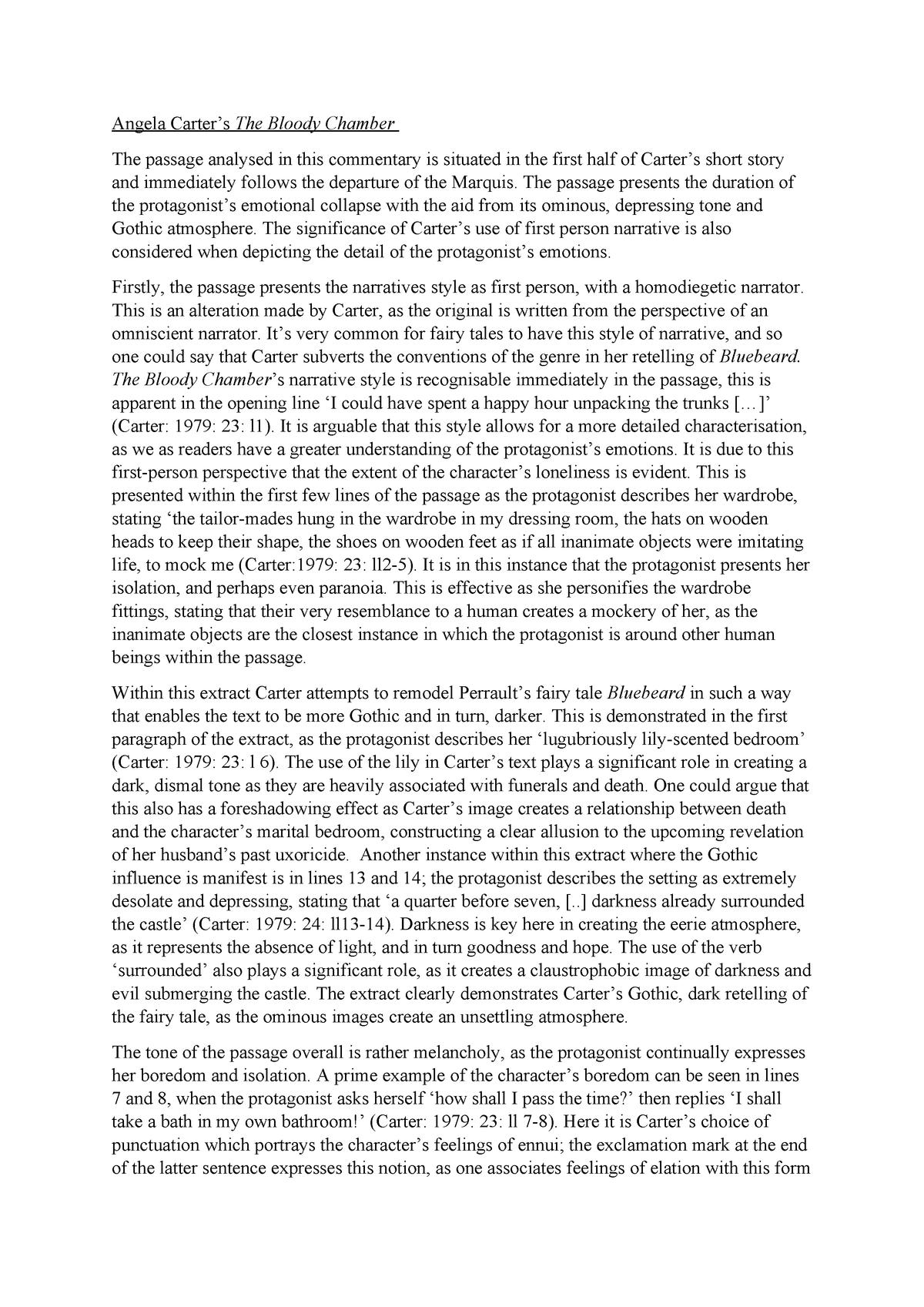 bloody chamber gothic essay