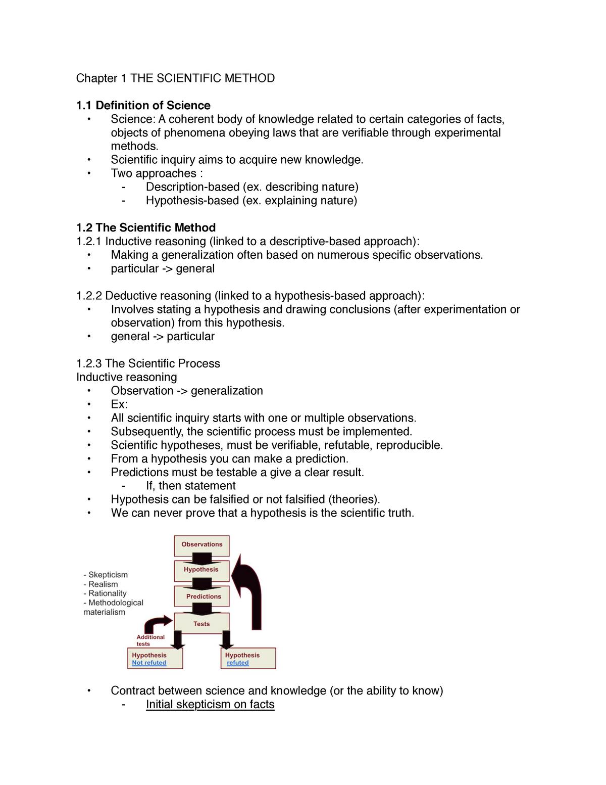 Chapter 1 THE Scientific Method - BIO1130 - uOttawa - StuDocu