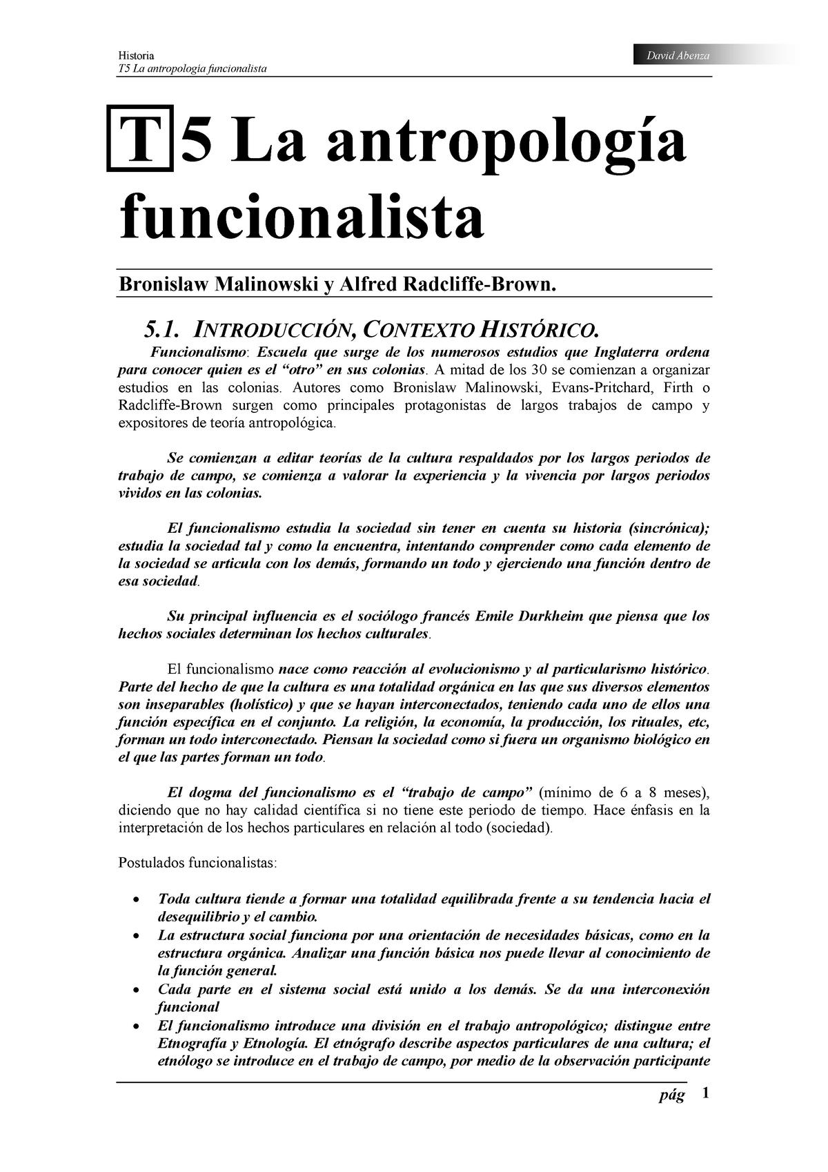 T5 La Antropología Funcionalista 70022026 Uned Studocu