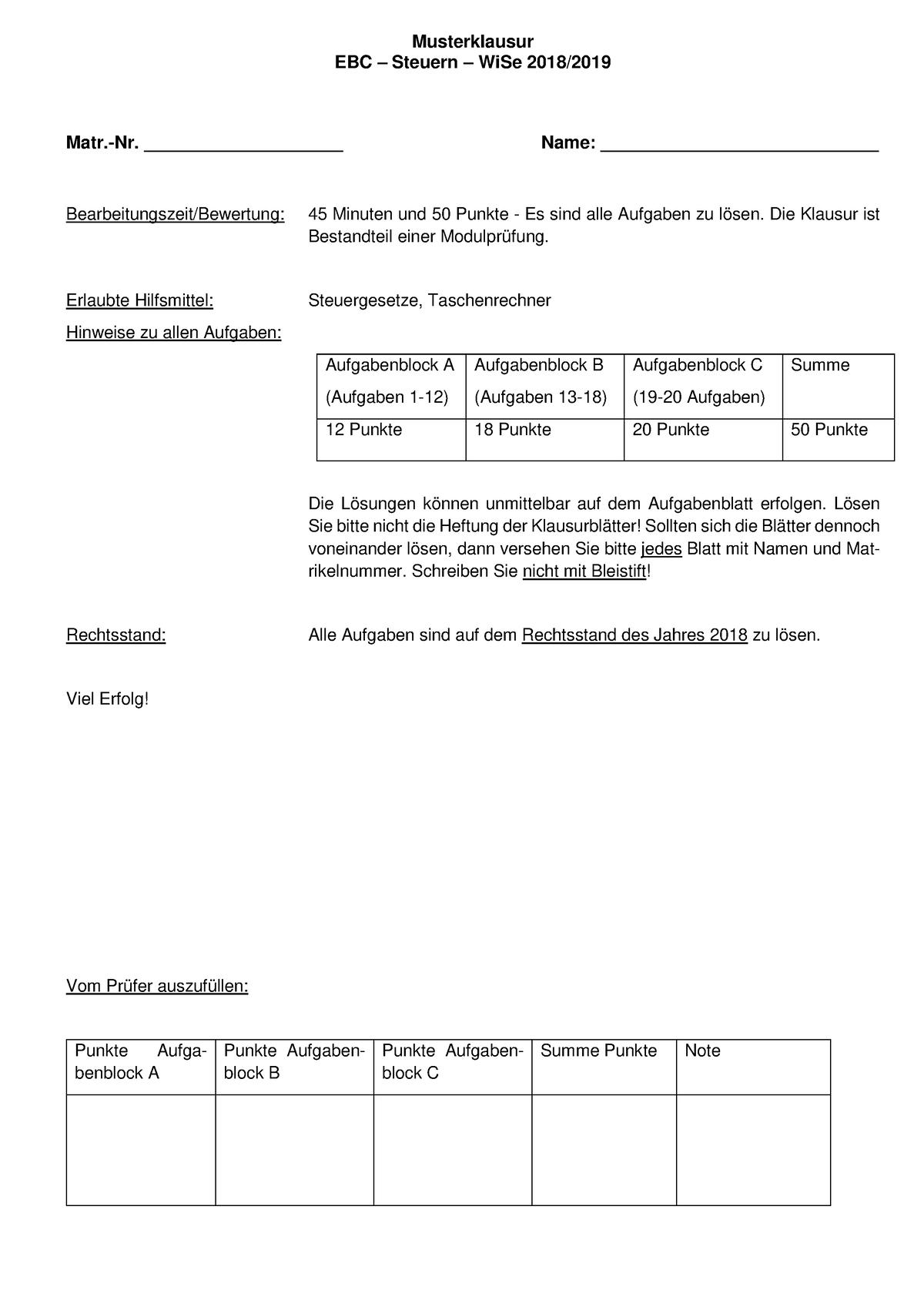 Musterklausur Steuern I 91111 2 Fh Dortmund Studocu