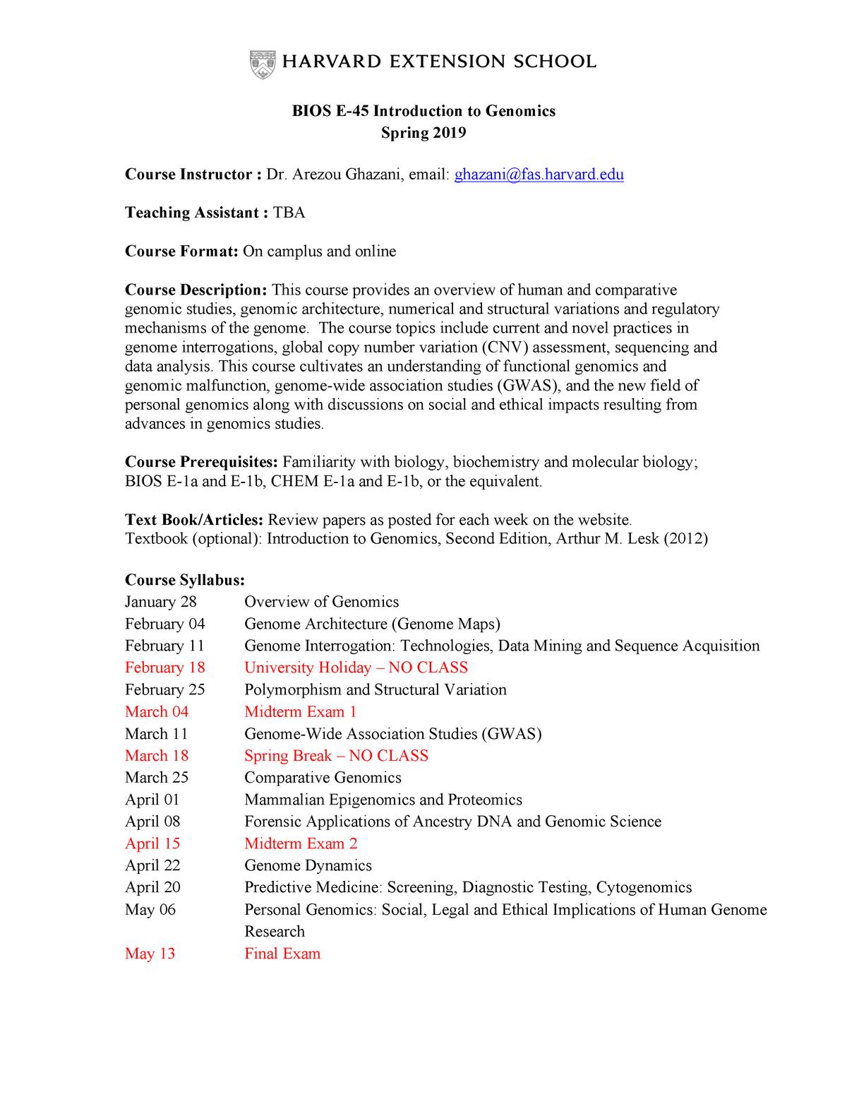 BIOS E45-Syllabus and Course Information-revised - BIOS E-45