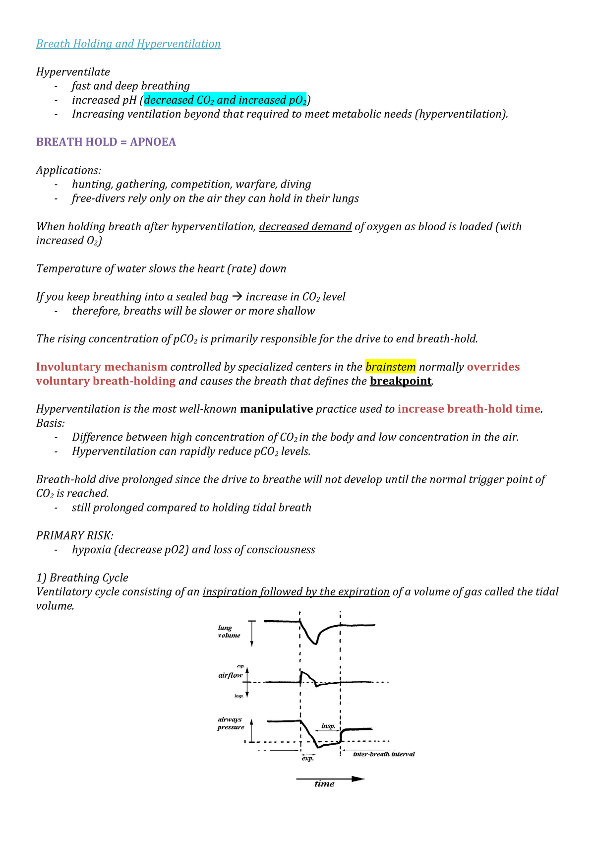 Lecture notes, lecture Breath Holding and Hyperventilation - 091400