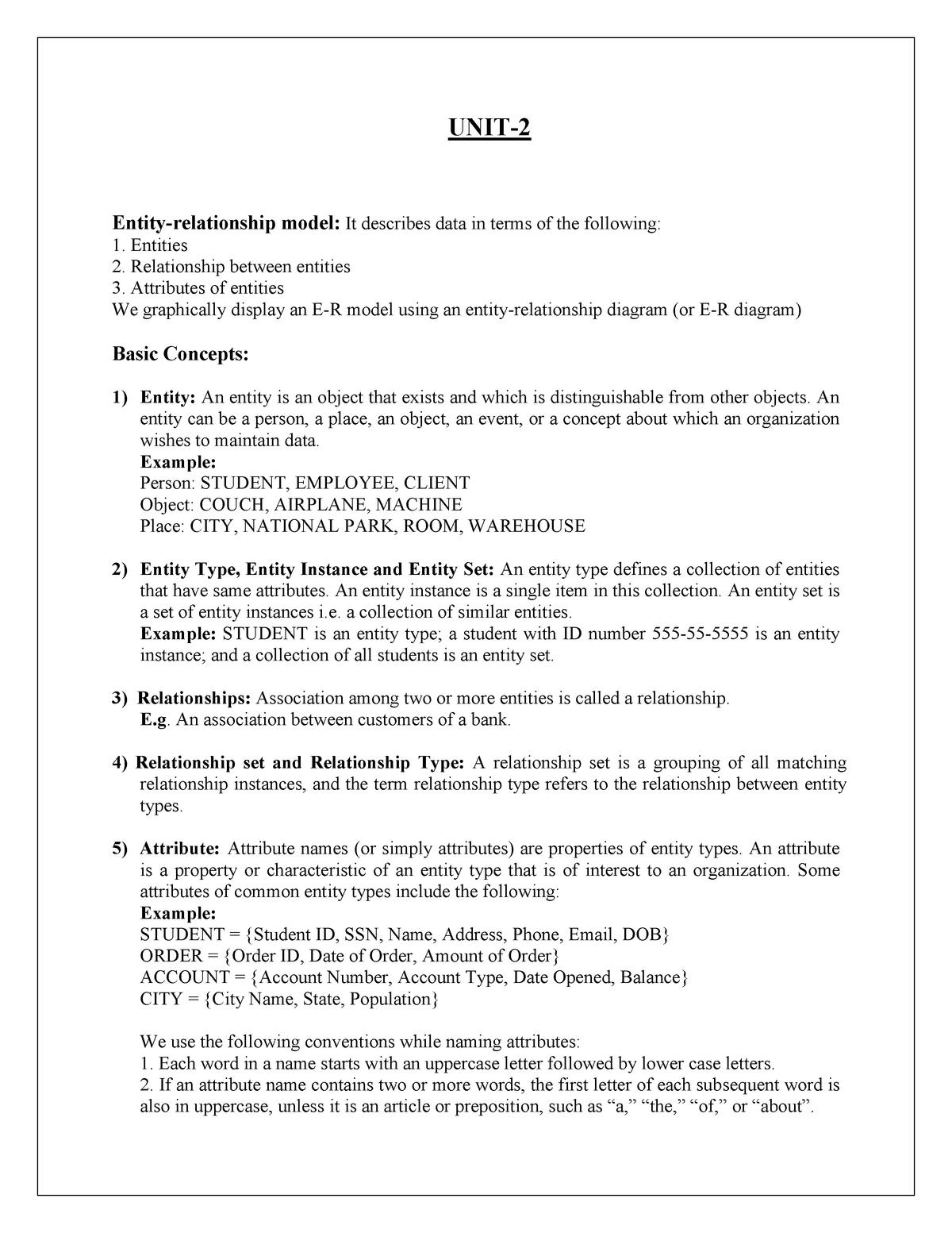 DBMS Unit 2 - BBA NOTES - BBA - StuDocu