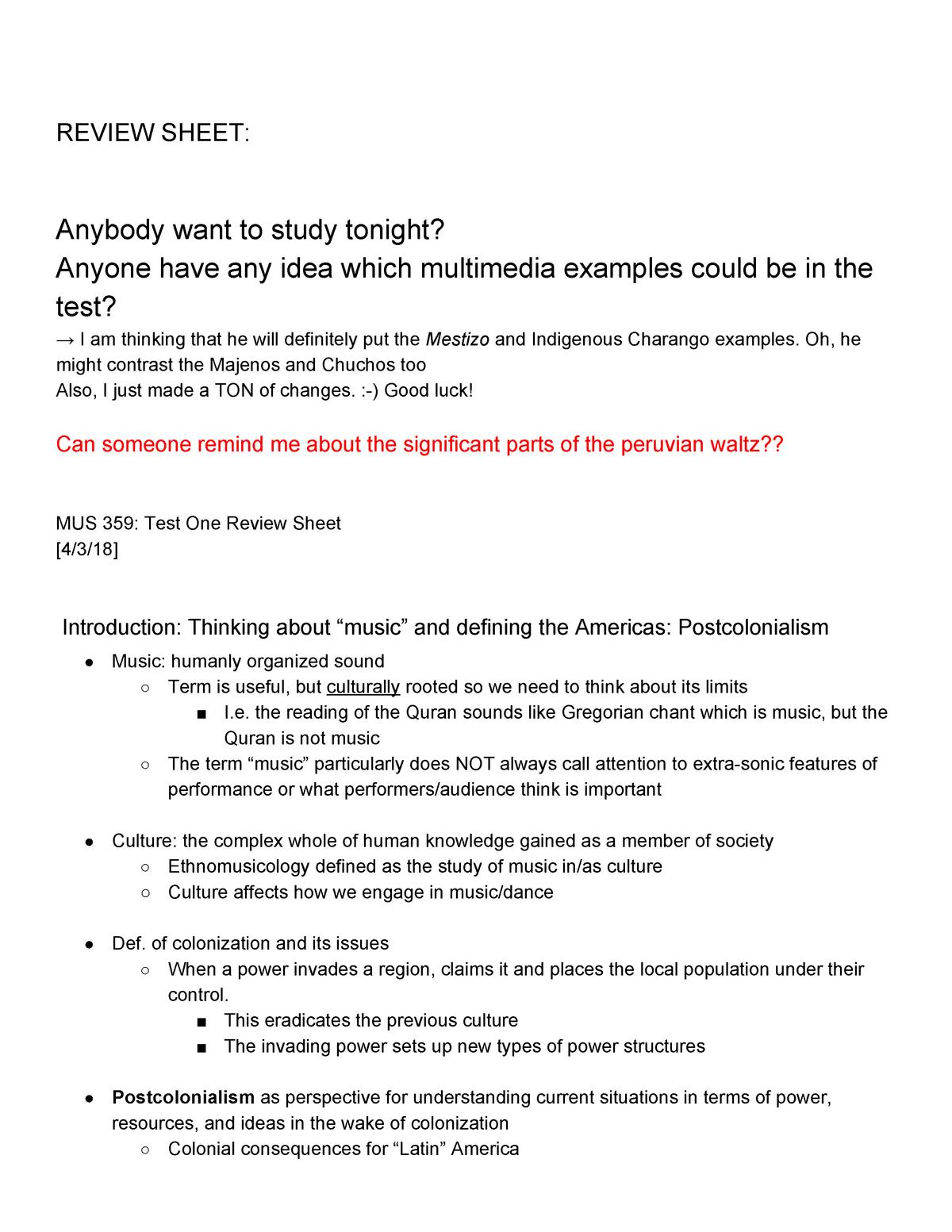 Ethnomusicology study sheet