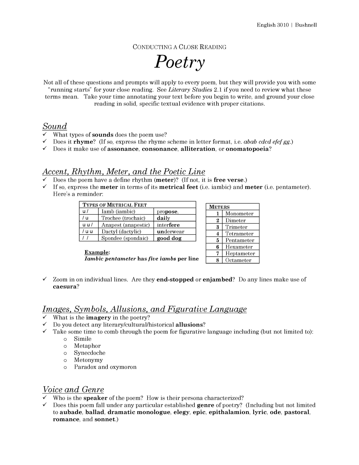 Conducting a Close Reading - Poetry - ENG 3010: Critical