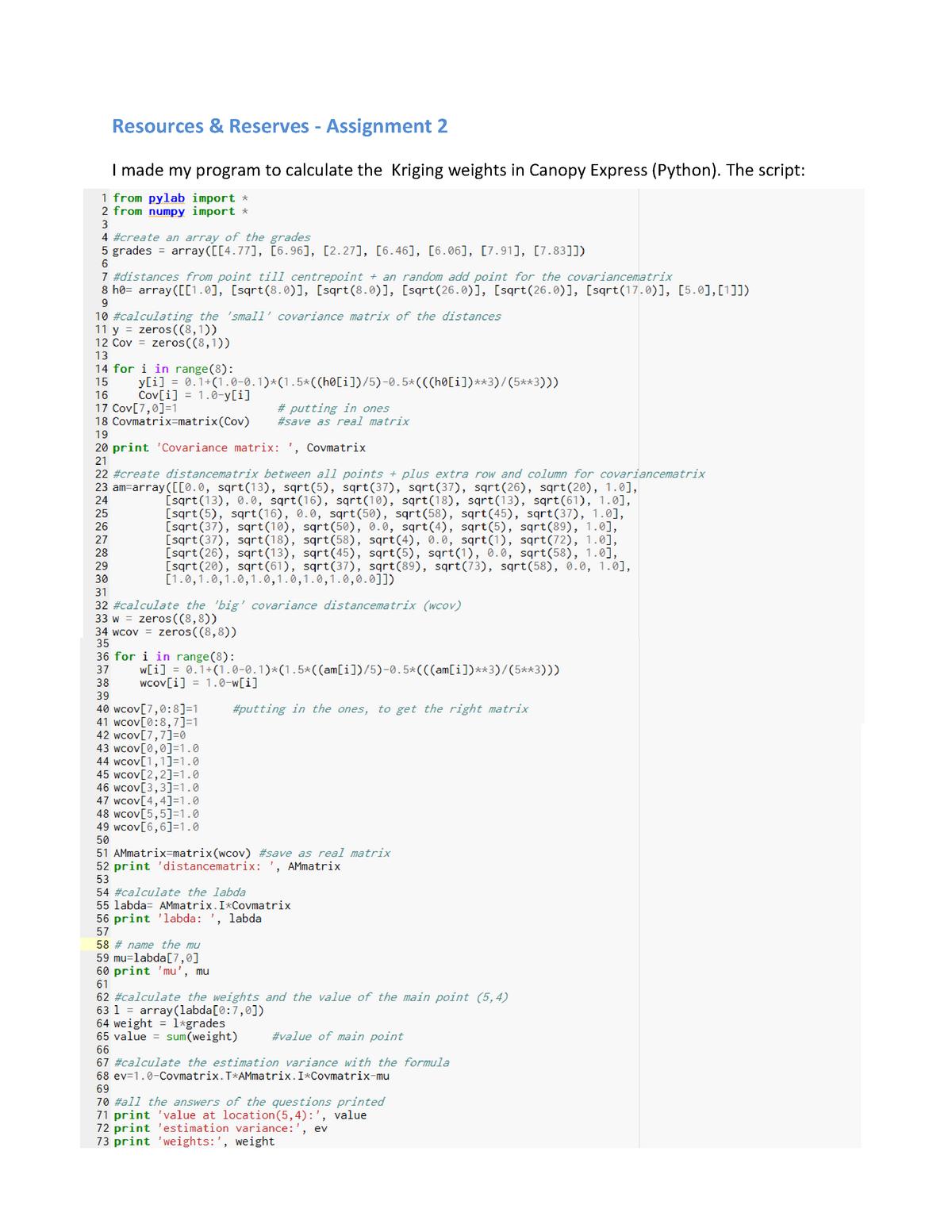 Verplichte opdracht assignment 2: Kriging weights (Python