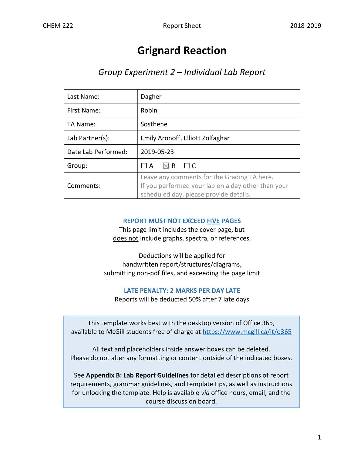 222-report-sheet-grignard - Chem 222: Introductory Organic Chemistry