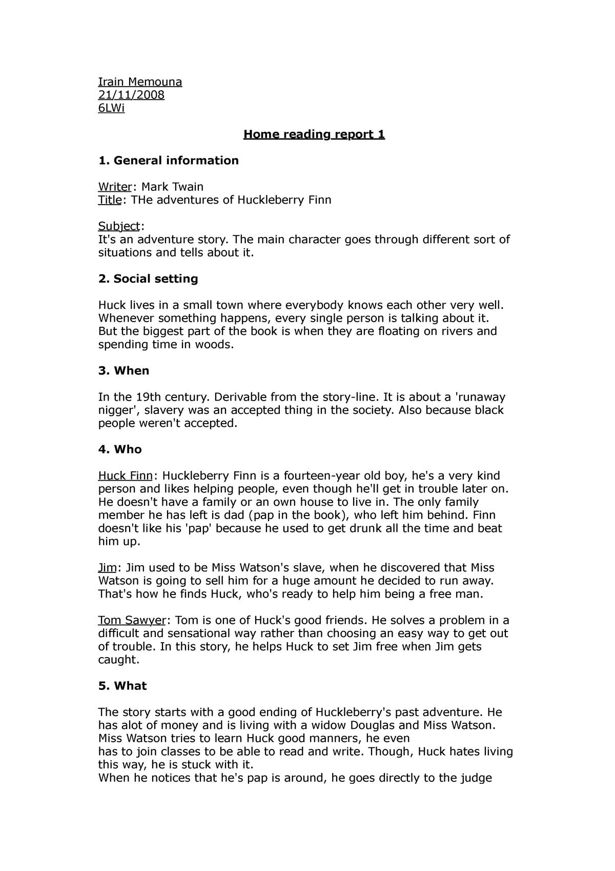 Huckleberry Finn Book Report - Words | Help Me