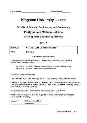 Exam 2016, questions - Data communications CI7110 - KUL