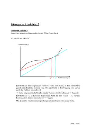 Pflichtaufgaben, Lösungen - Arbeitsblatt 2 - 01000: Kosten- und ...
