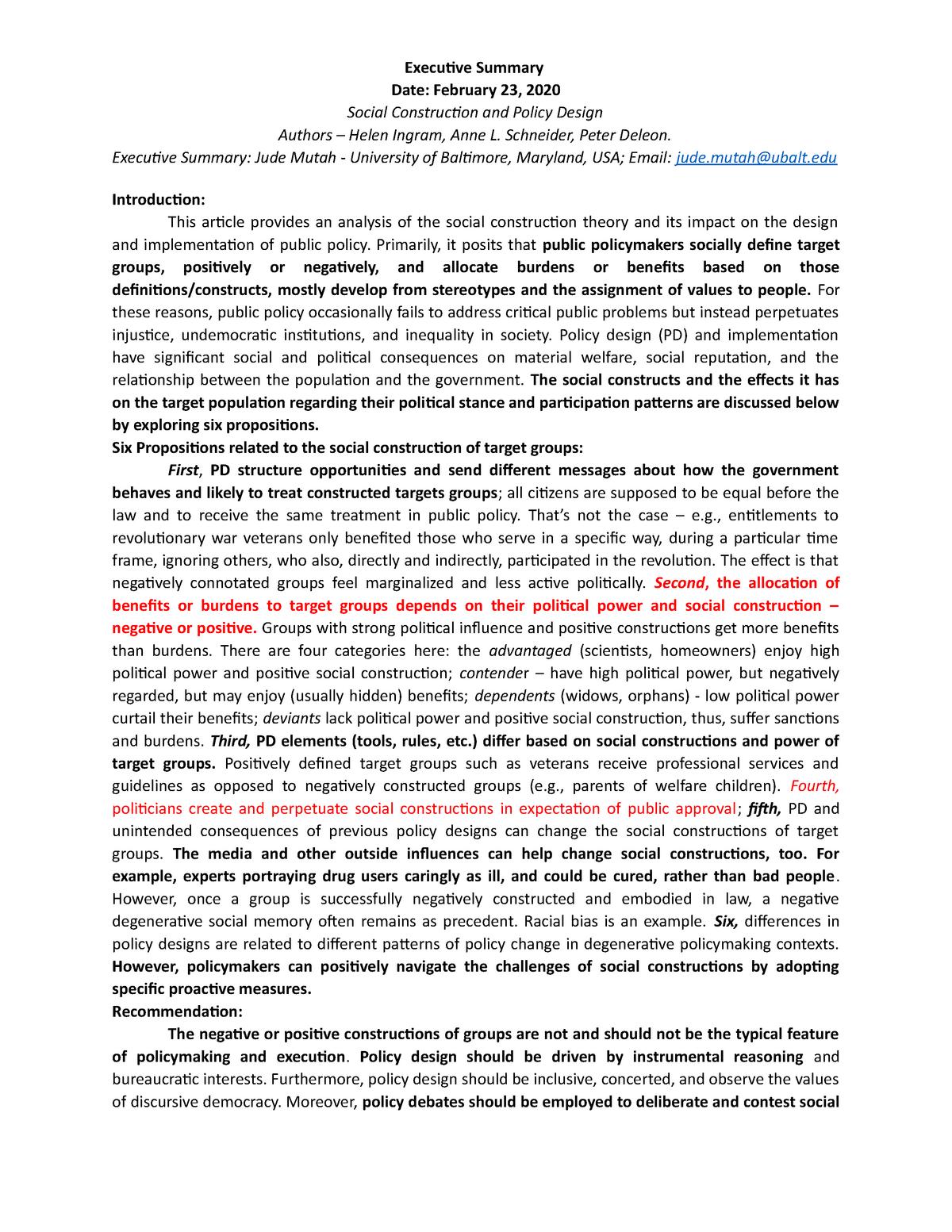 Executive Summary 2 Ingram Schneider Deleon Pad 6865 Studocu