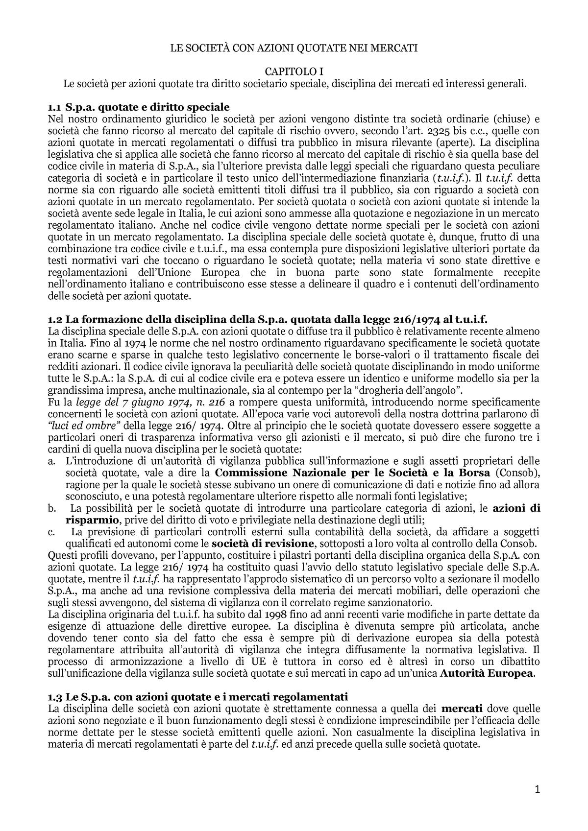 d2b5b7c25b Riassunto Le società con azioni quotate nei mercati 22 Mar 2019 - StuDocu