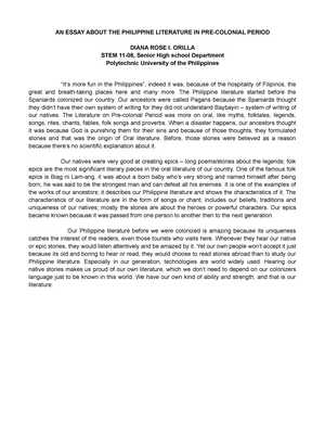 an essay about the philippine literature in precolonial period  an essay about the philippine literature in precolonial period   senior high  school stem   studocu