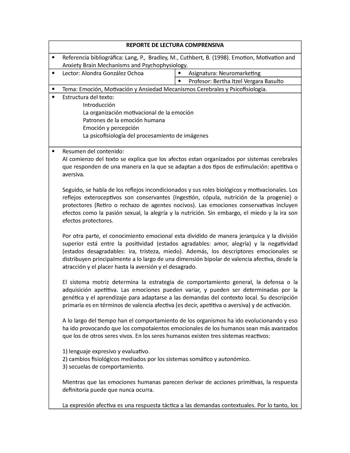 Reporte De Lectura Comprensiva 3 Neuromercadología Studocu