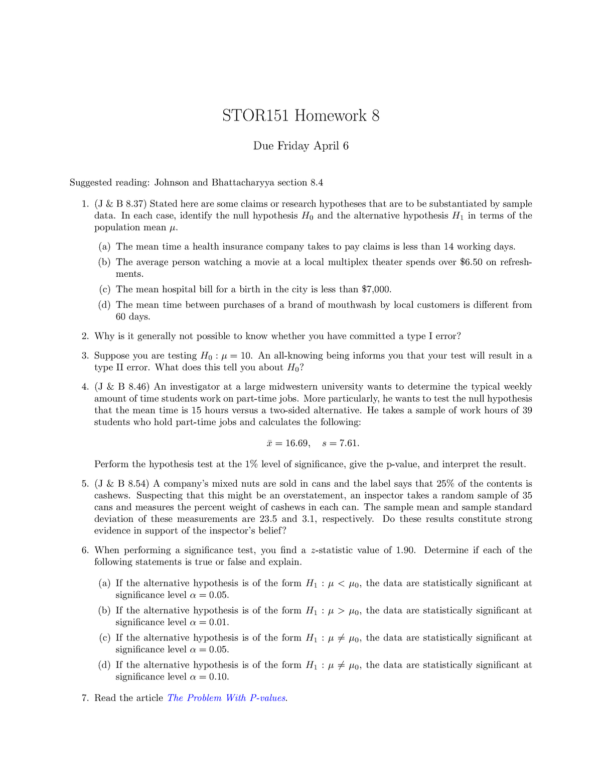 HW8 - homework questions - STOR 151: Basic Concepts Of