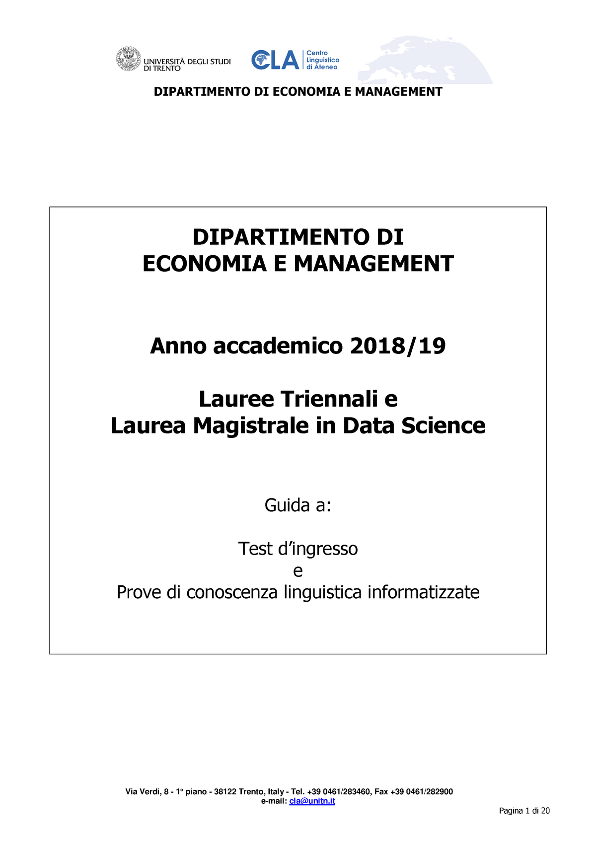 Unitn Calendario Accademico.Dipartimento Di Economia E Management A A 18 19 120060