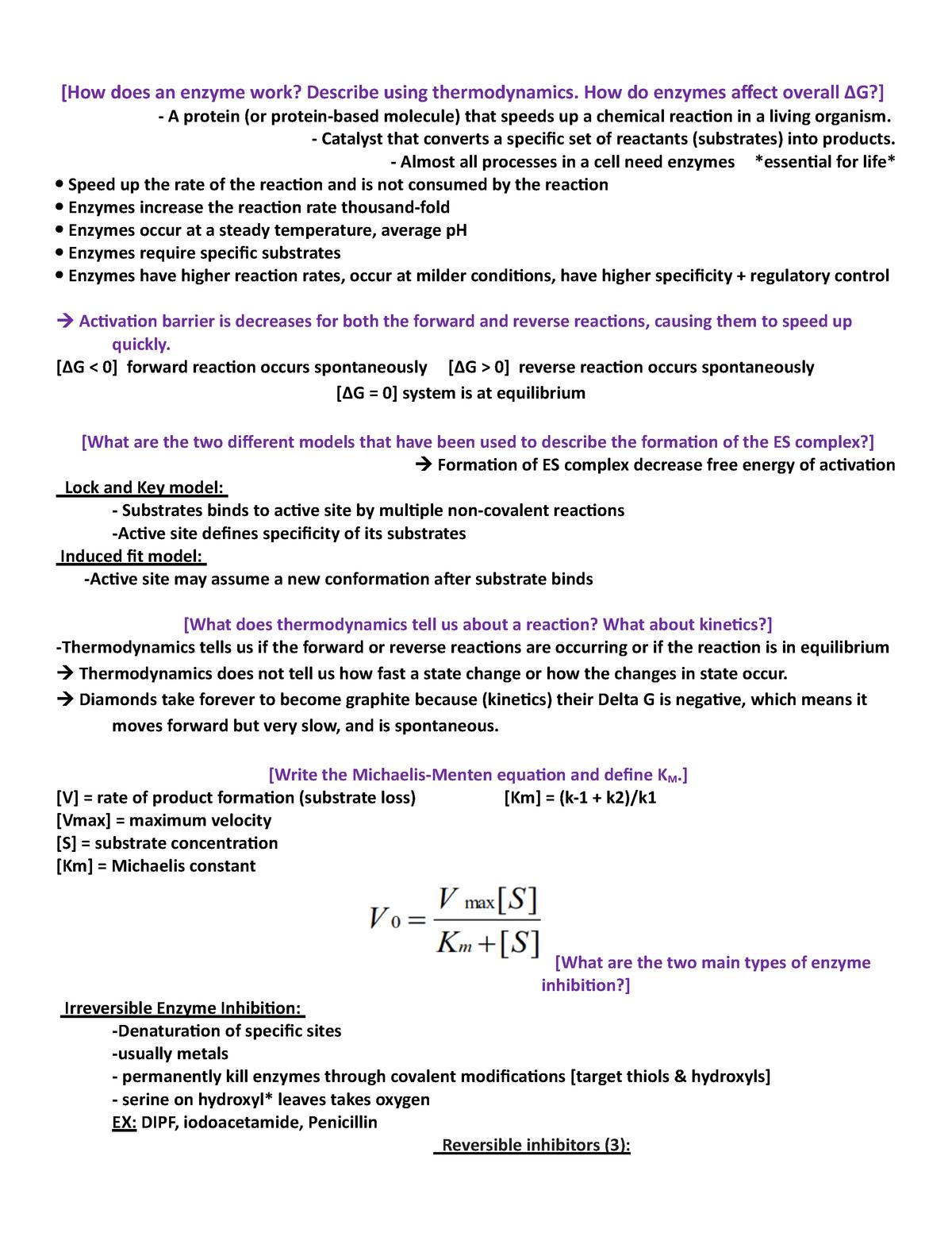 SI Session 7 Complete - BIOL 4087: Basic Biochemistry - StuDocu
