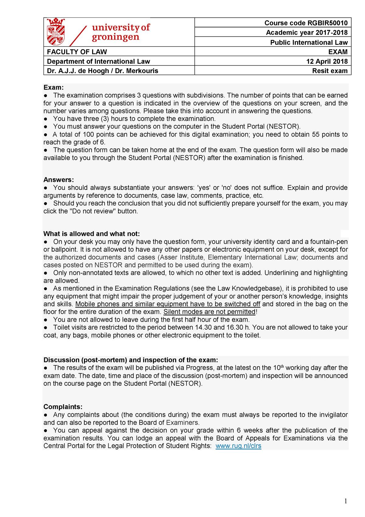 Exam 2018 - RGBIR50010: Public International Law - StuDocu