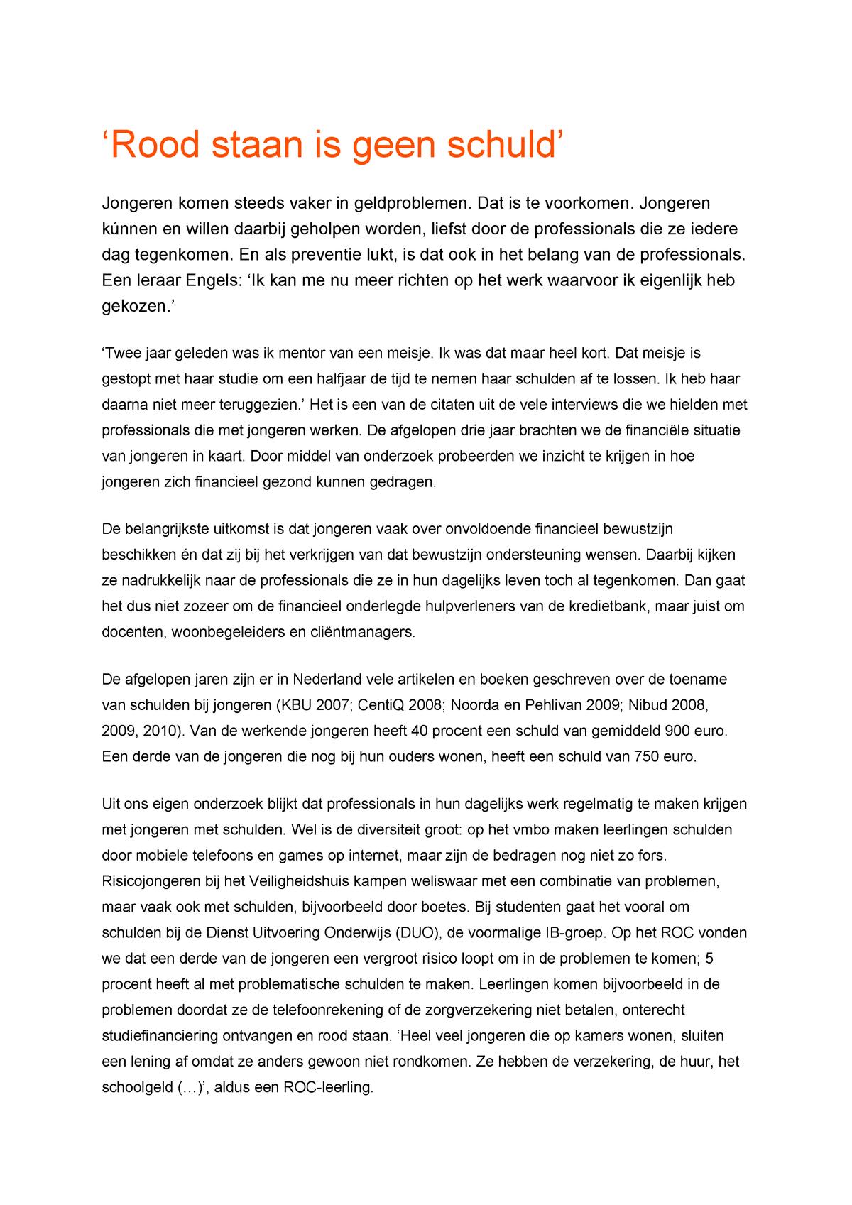 Rood Staan Is Geen Schuld Dossieranalyse Inholland Studocu