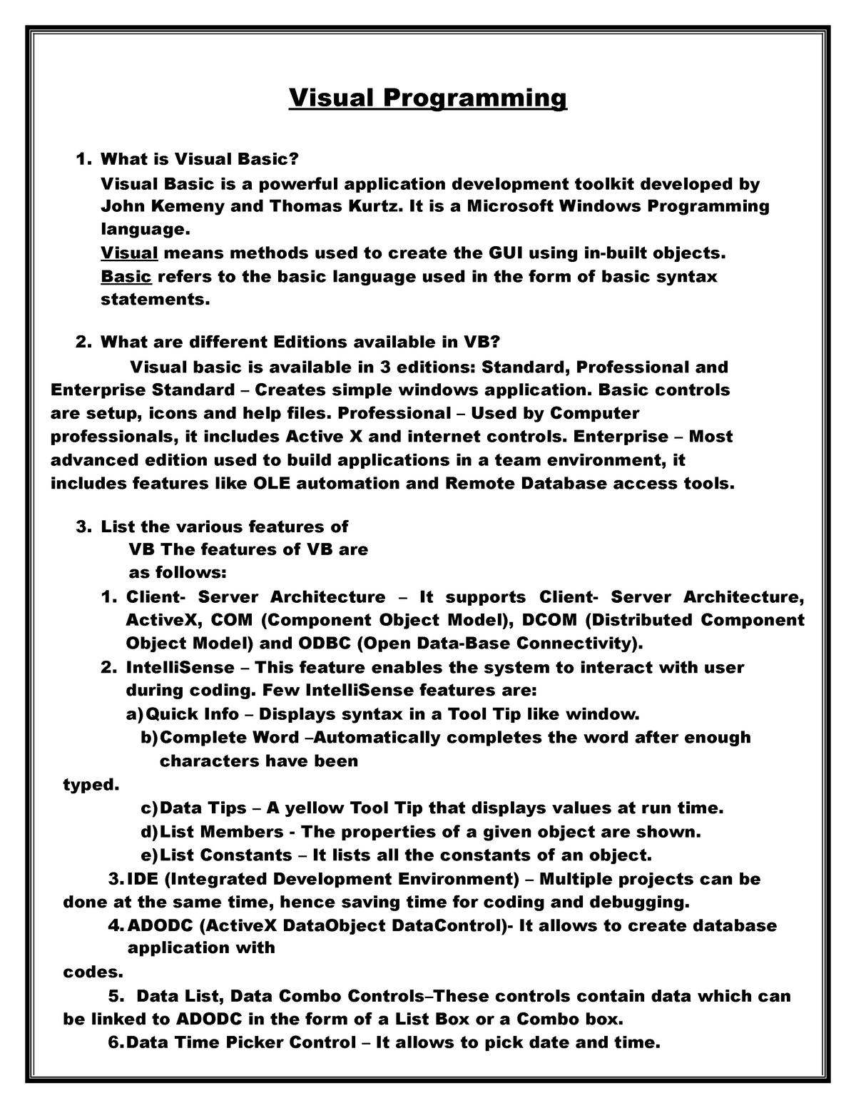 VB-Part-1impQ&A - Visual Programming BCA405 - StuDocu