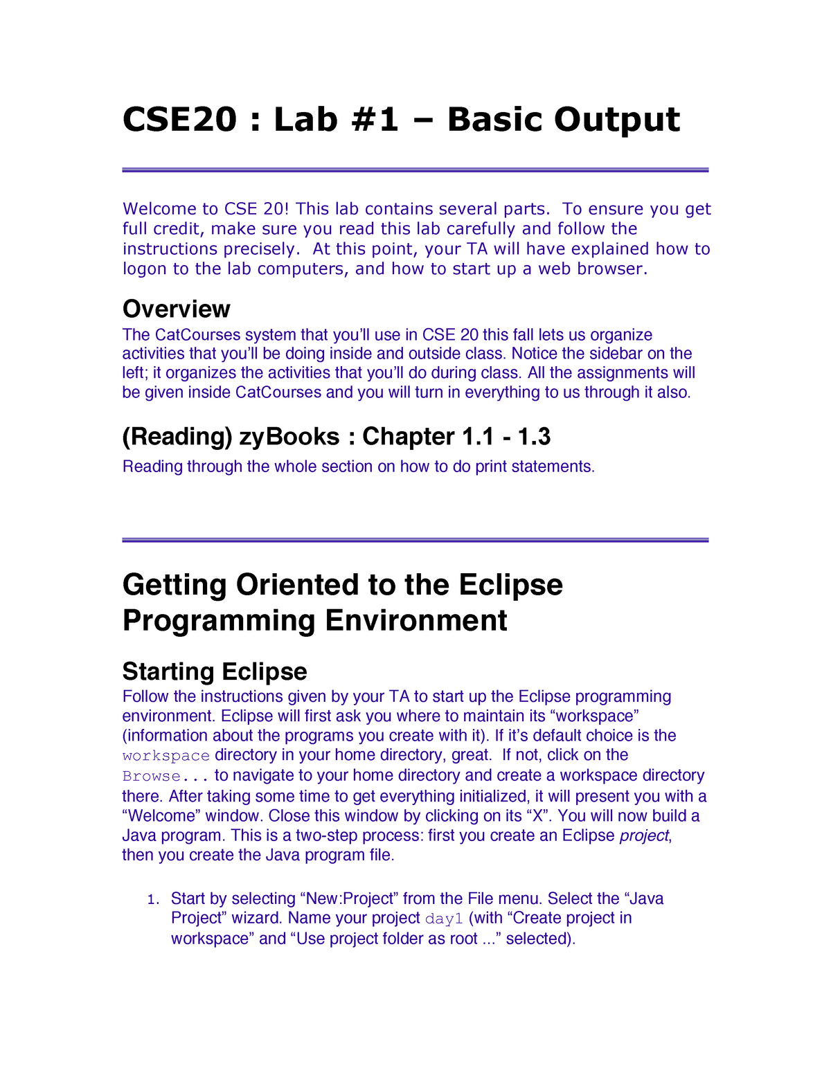 CSE 20 Lab 01: Basic Output - CSE 020: Introduction To Computing I