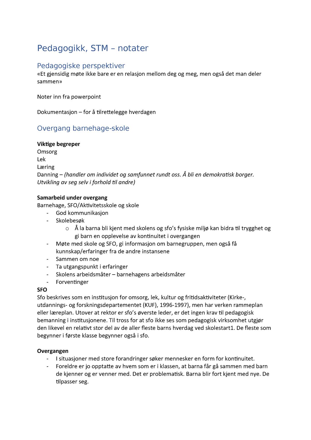 17da28196 Ped i STM - Foredragsnotater 5-10 - BLH2100: Språk, tekst og ...