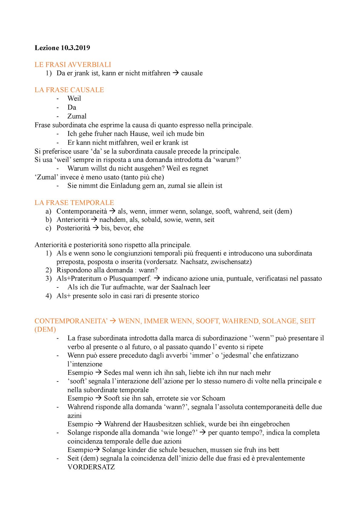 Lezione 10 Aprile Lingua Tedesca Ii L Lin 14 Unior Studocu