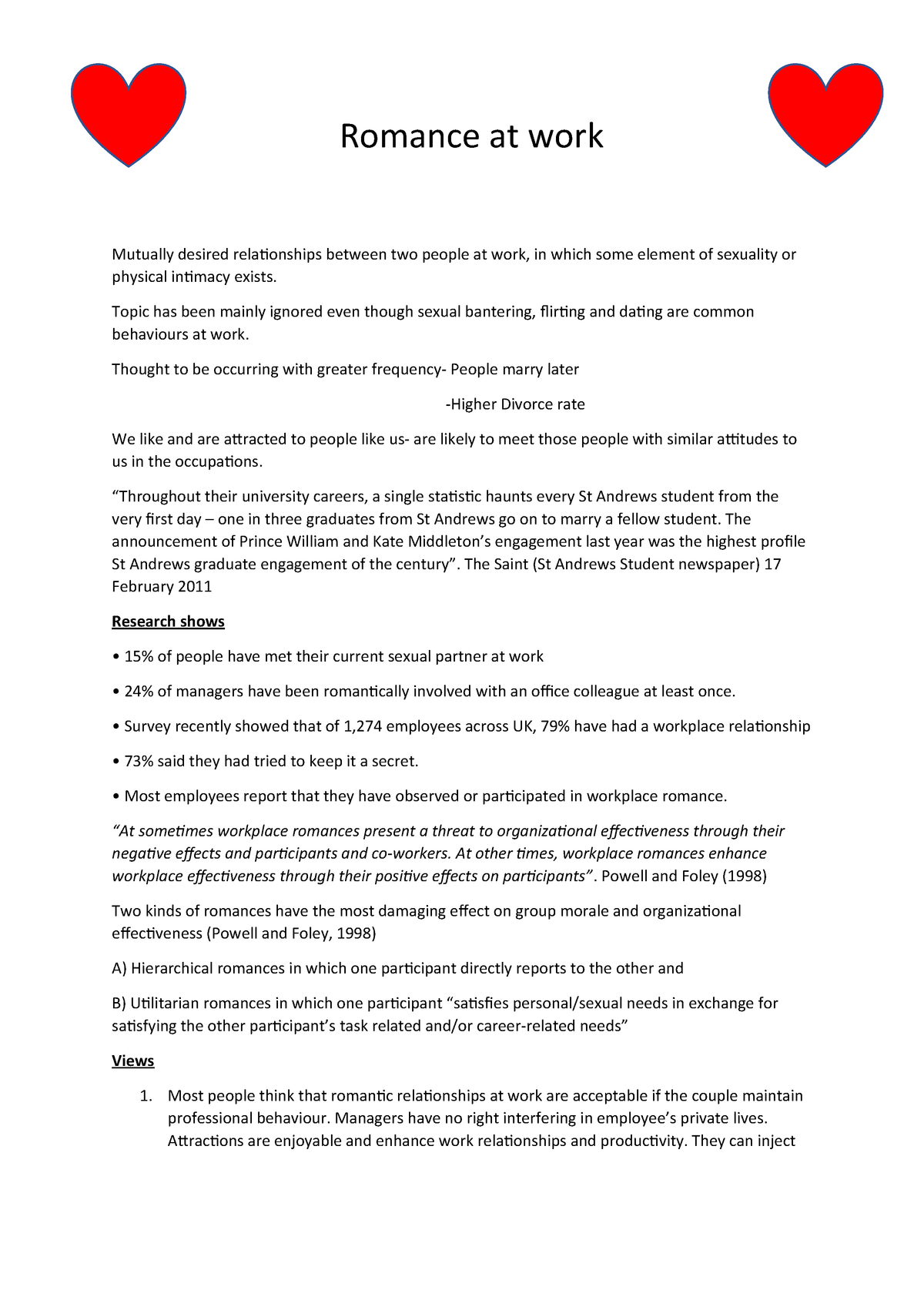 Romance at work - Lecture notes 3-8 - MGT2002: Business and