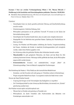 Exzerpt Zu Platon Zusammenfassung Einführung In Geschichte Und