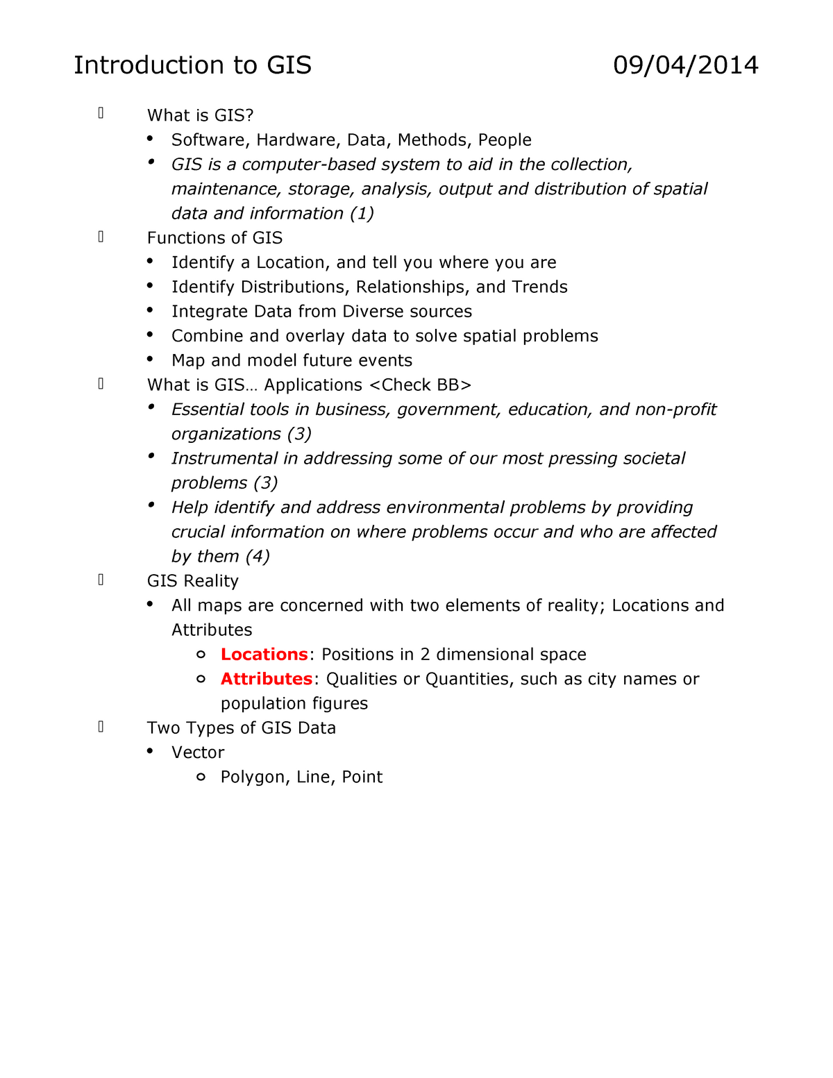 GIS - Lecture notes All - GEOG 106 - GWU - StuDocu