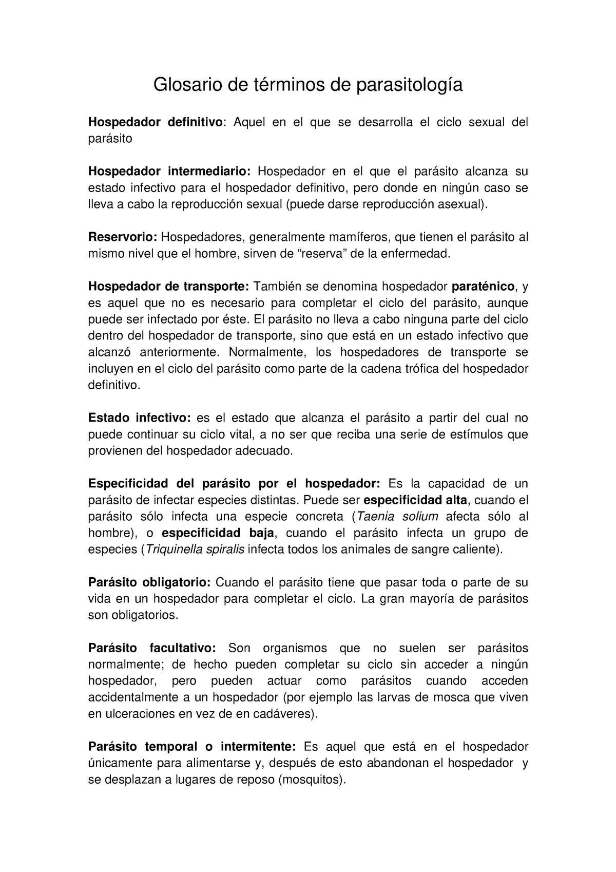 6a4ef55ec72 Glosario parasitología - 1846: Zoología - StuDocu