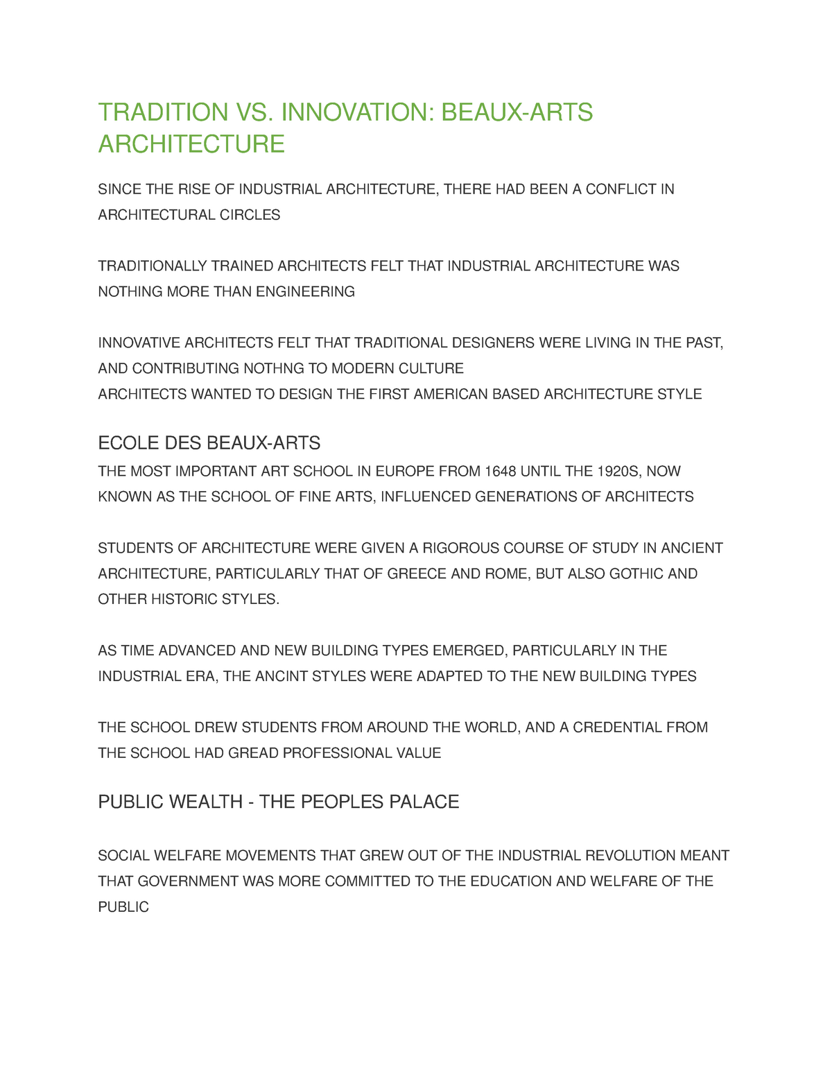 ARCH 245 - Beaux-ARTS Architecture - ARCH 245: Architectural