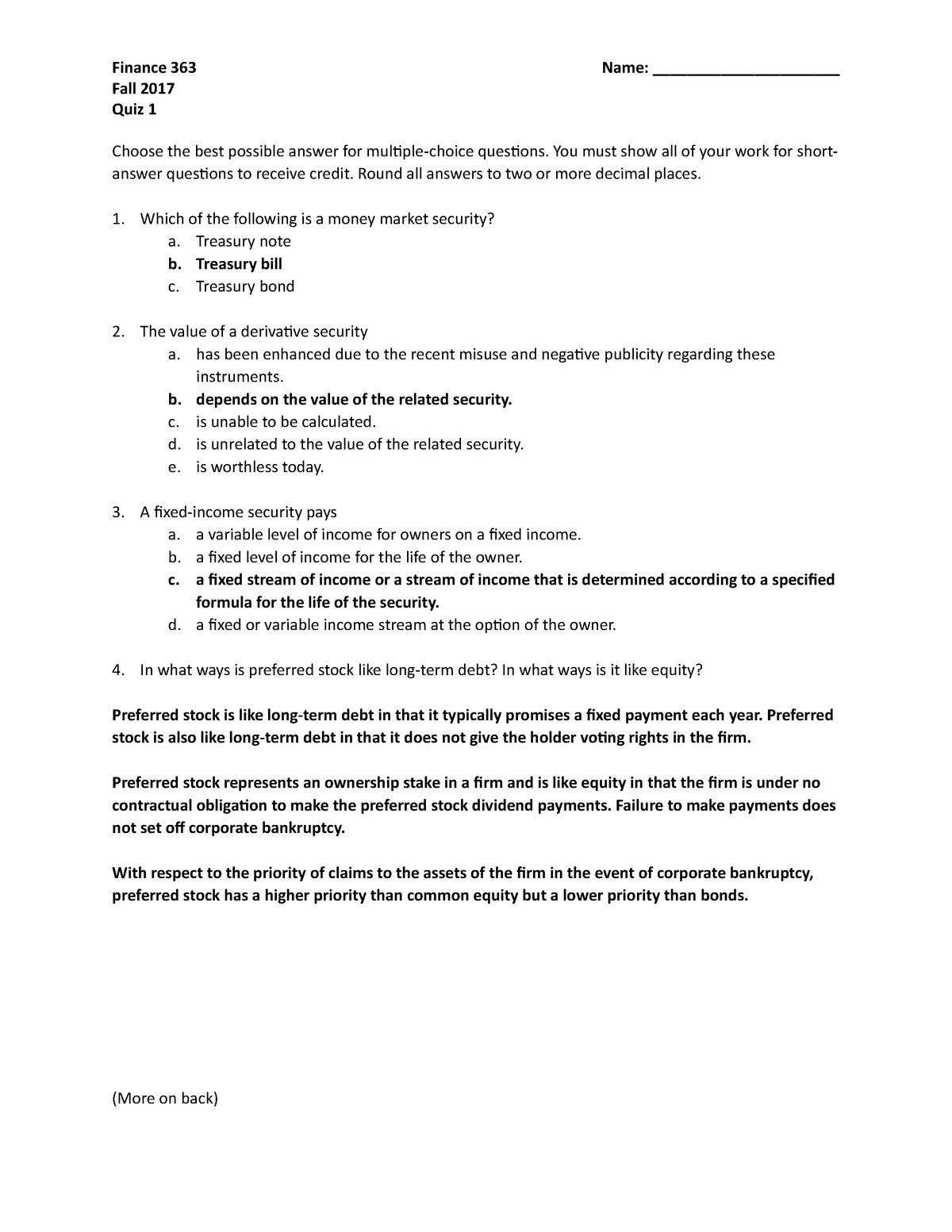 Quiz 1 key - Quiz - FINA 363 Investment Principles - StuDocu