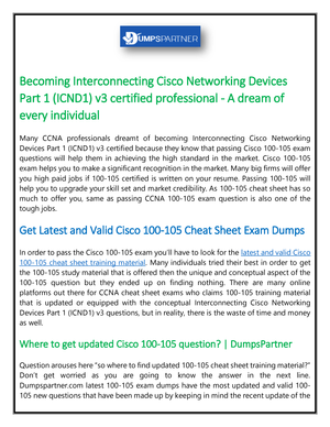 Highly Secure 100-105 Cheat Sheet To Set You Up for 100 105