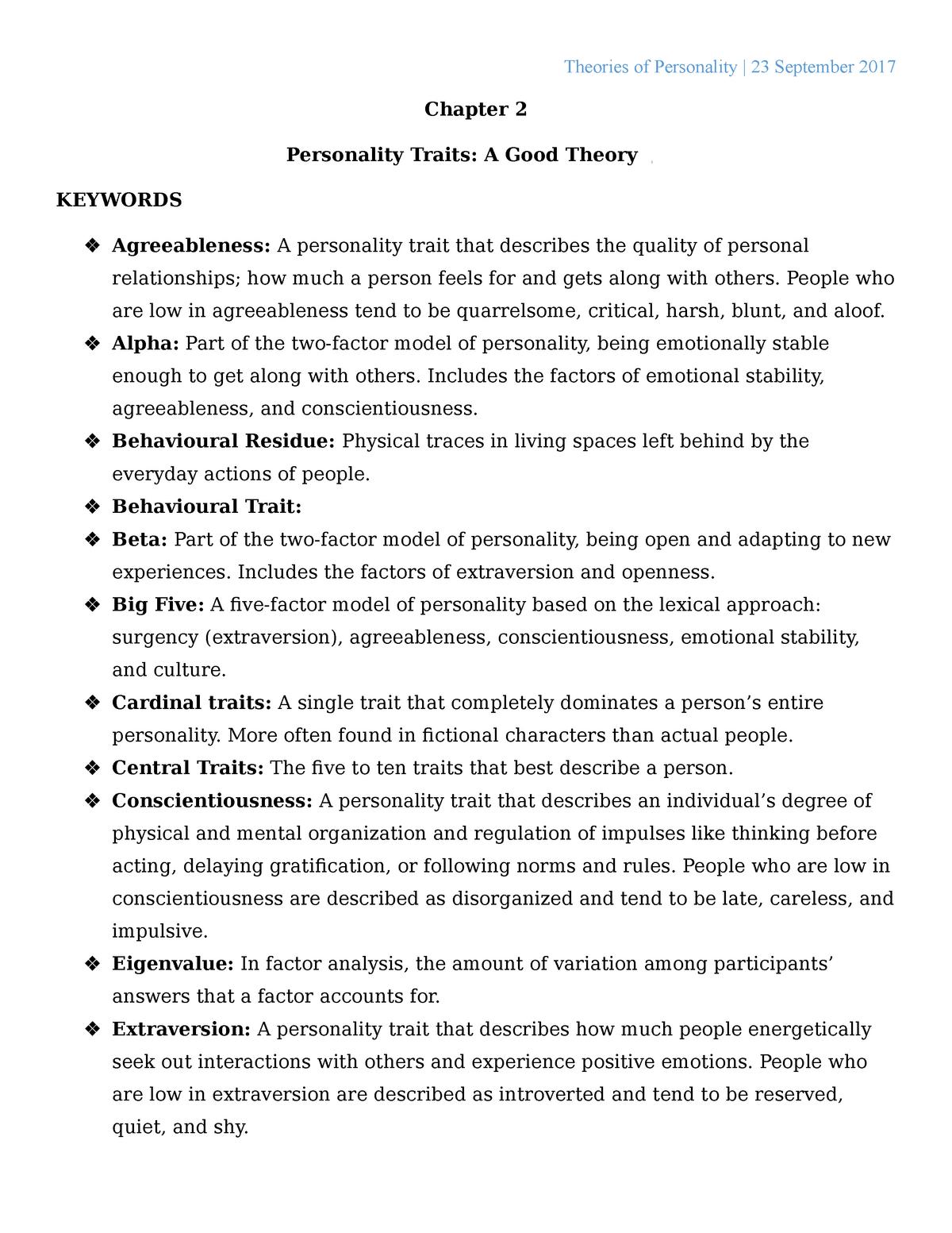 Big five extraversion questionnaire