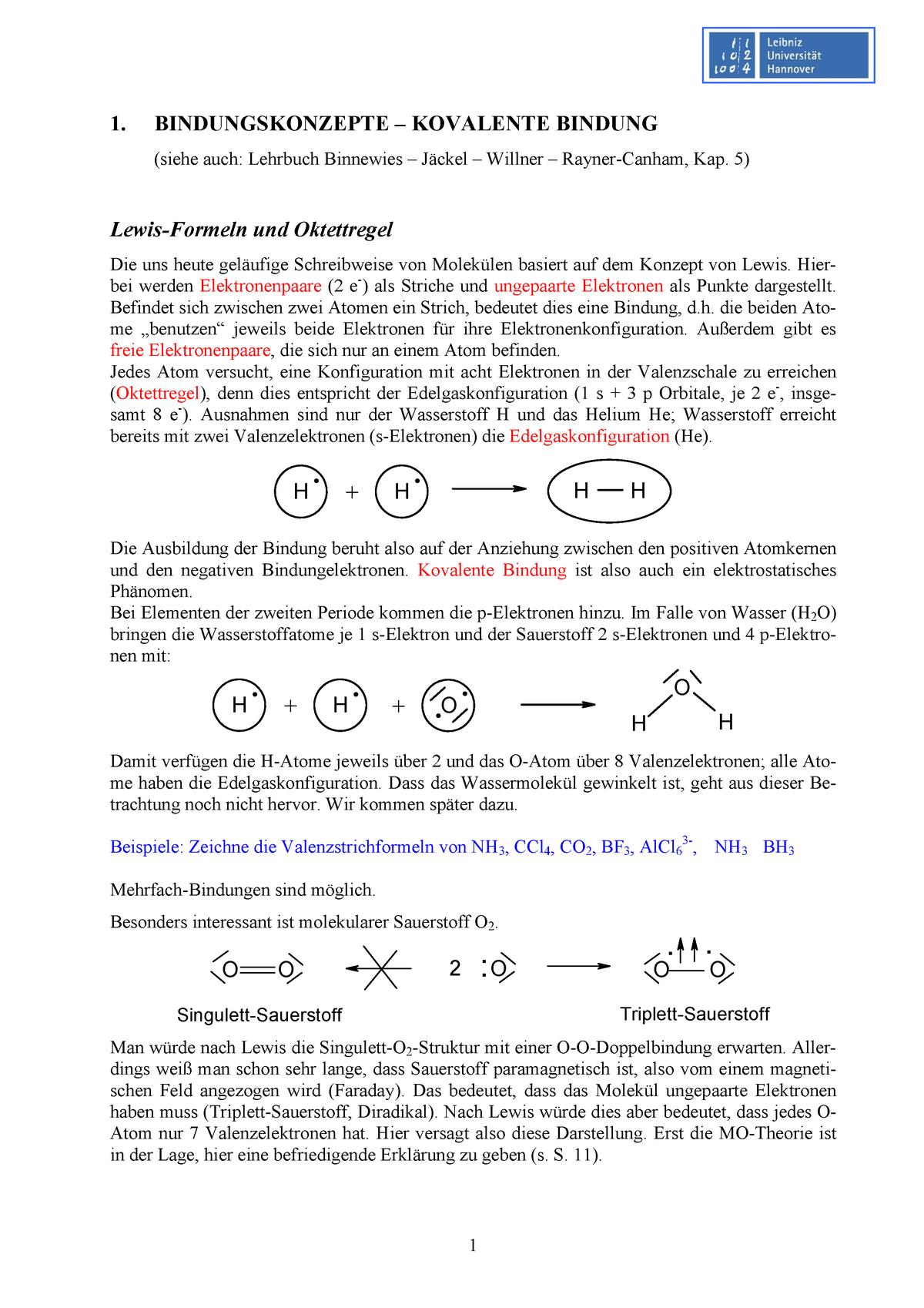 Teil 1: Bindungskonzepte - kovalente Bindung - 14001a - StuDocu