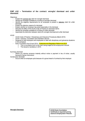 Emp Lg2 Termination Of The Contract Unfair Dismissal And Wrongful