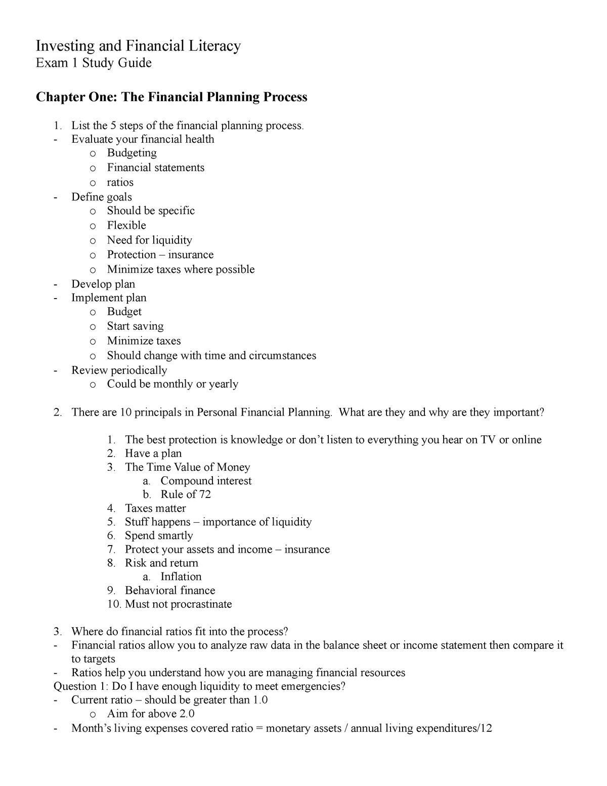 EXAM ONE Study Guide personal finance - FIN2114 - StuDocu