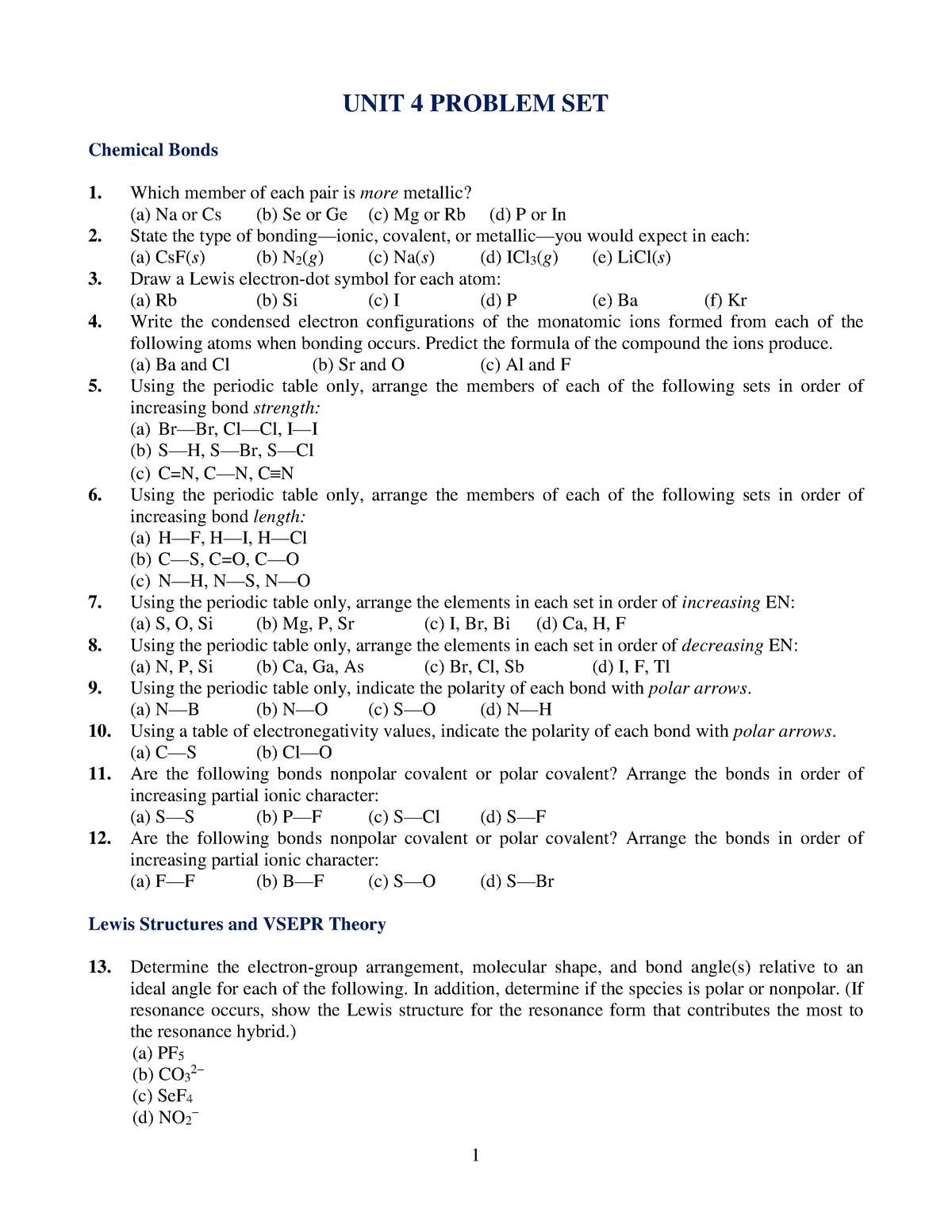 CHEM 1120 Unit 4 Problem Set - StuDocu
