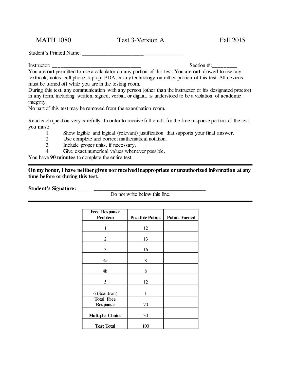 Exam 2015 - MATH 1080: Calculus of One Variable II - StuDocu