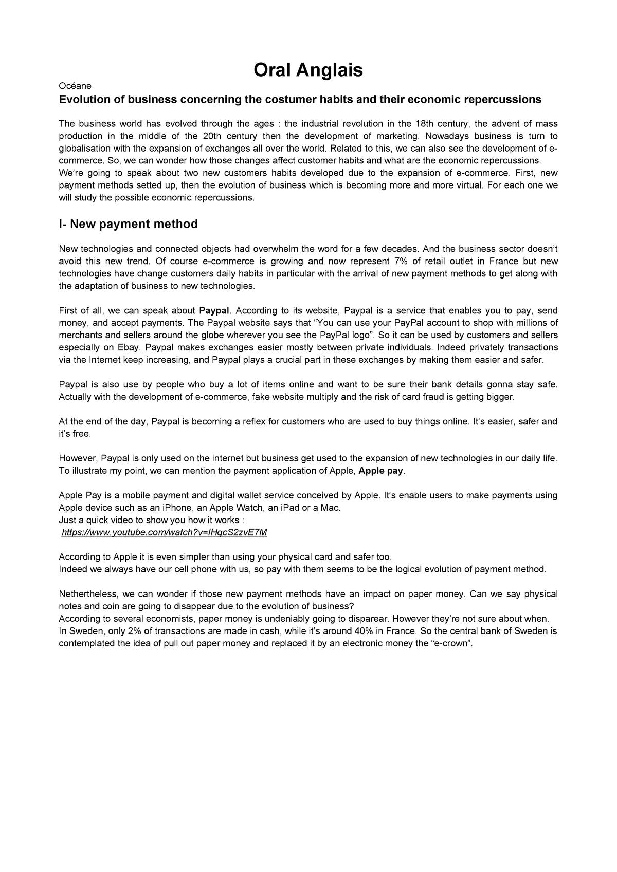 Oral Anglais - X1A0010: Anglais 1 : Anglais général - StuDocu