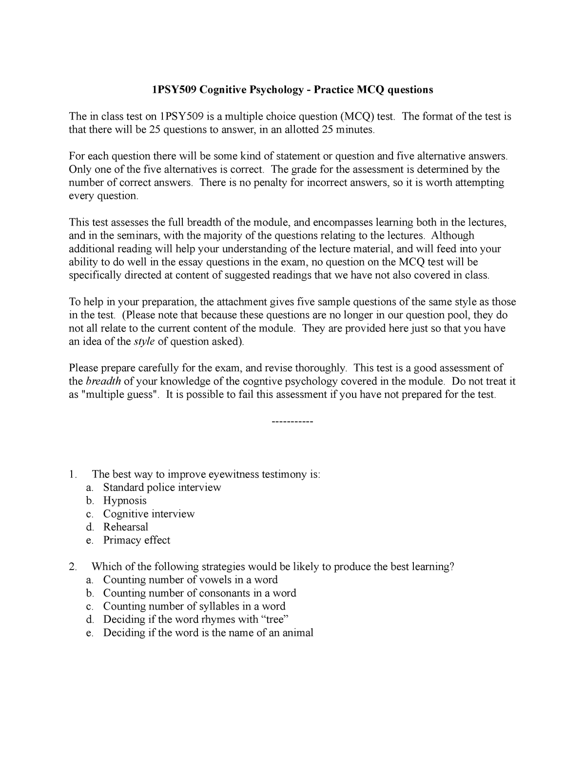 Sample/practice exam 4 May 2015, questions and answers - StuDocu