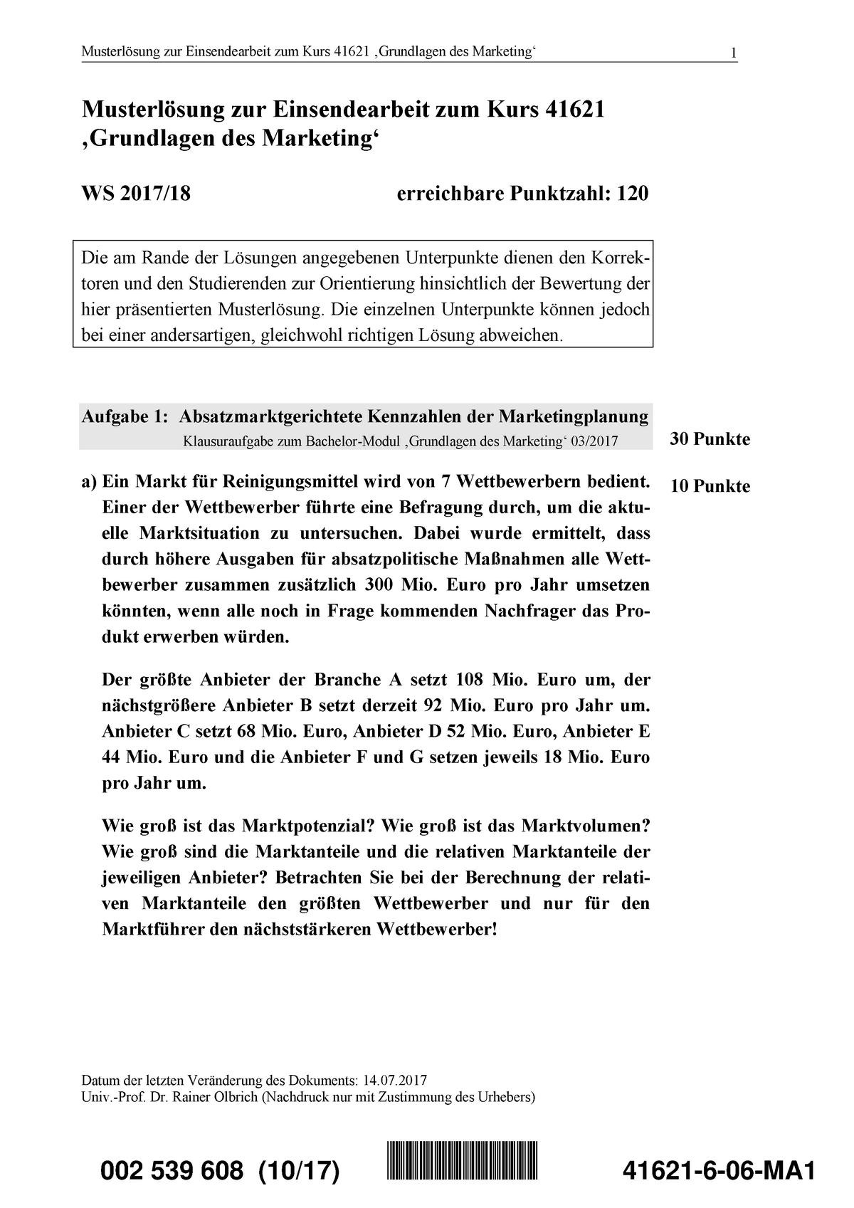 Loesungen 41621 WS17 6 - Einsendeaufgabe Grundlagen des