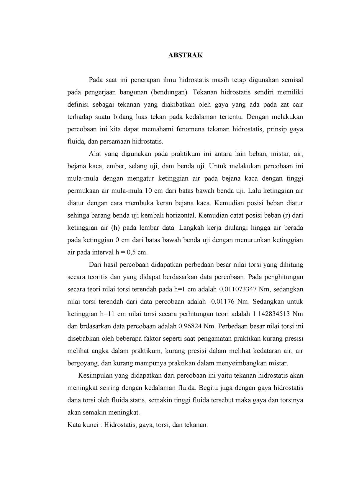 Laporan Resmi Praktikum Hidrostatis Studocu