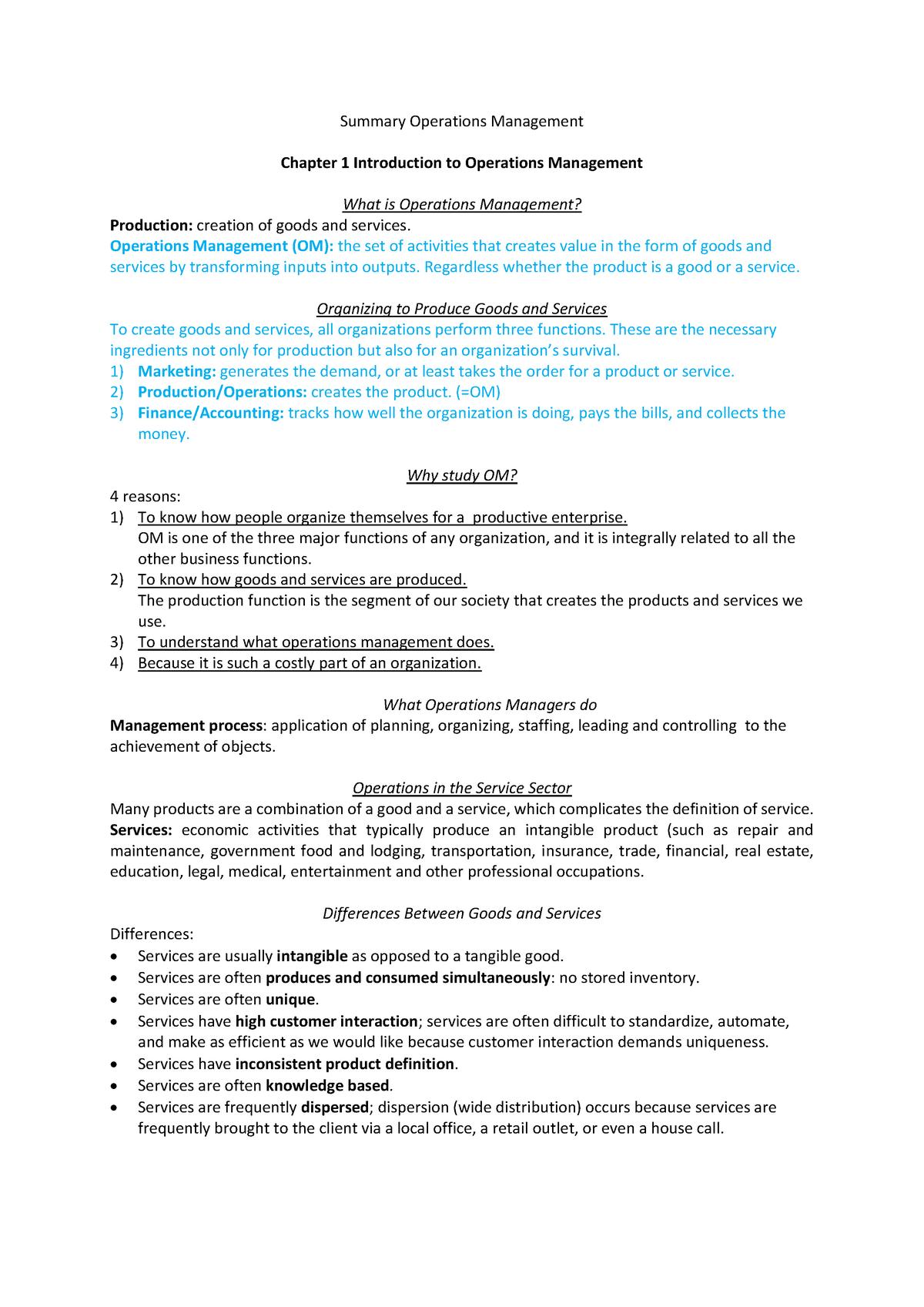 Summaries Operations Management Resit - BAP057 - StudeerSnel nl