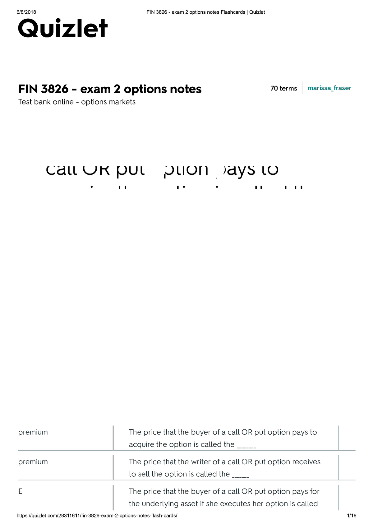 FIN 3826 - exam 2 options notes Flashcards Quizlet - 305228