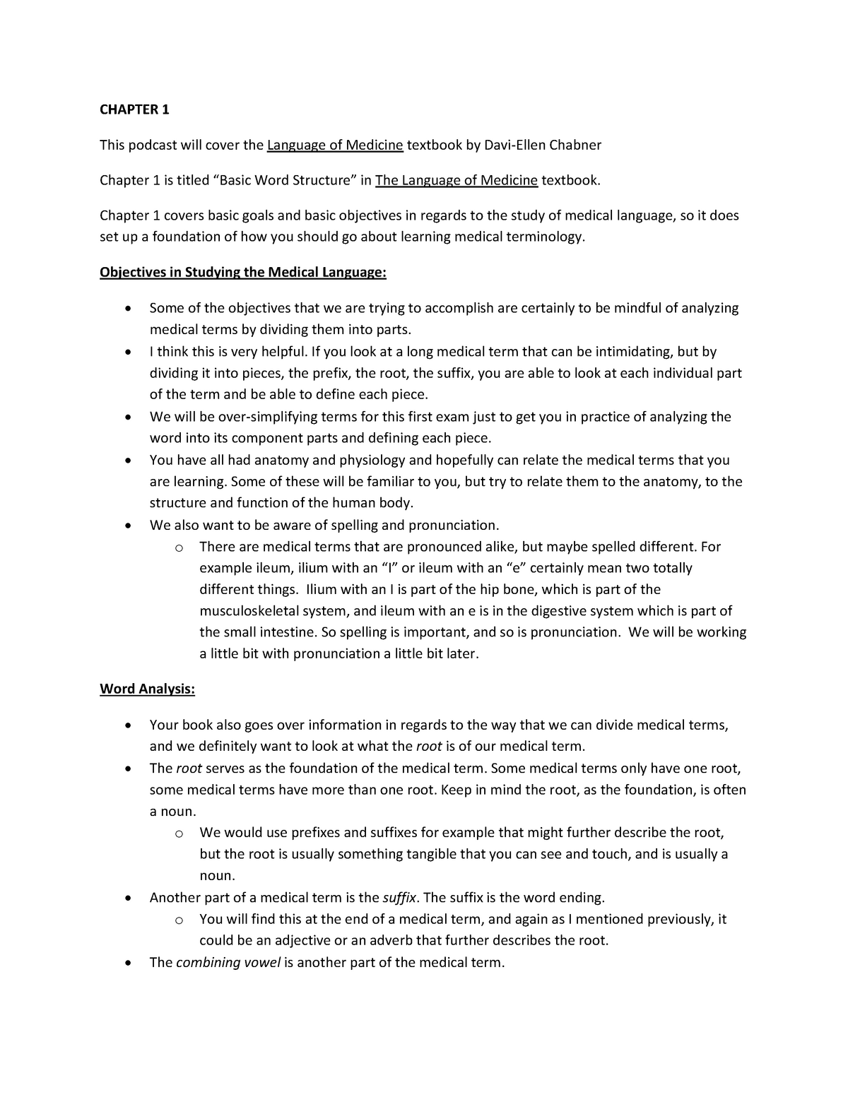 Chapter 1 Notes - HIM 361 Medical Terminology - UL Lafayette