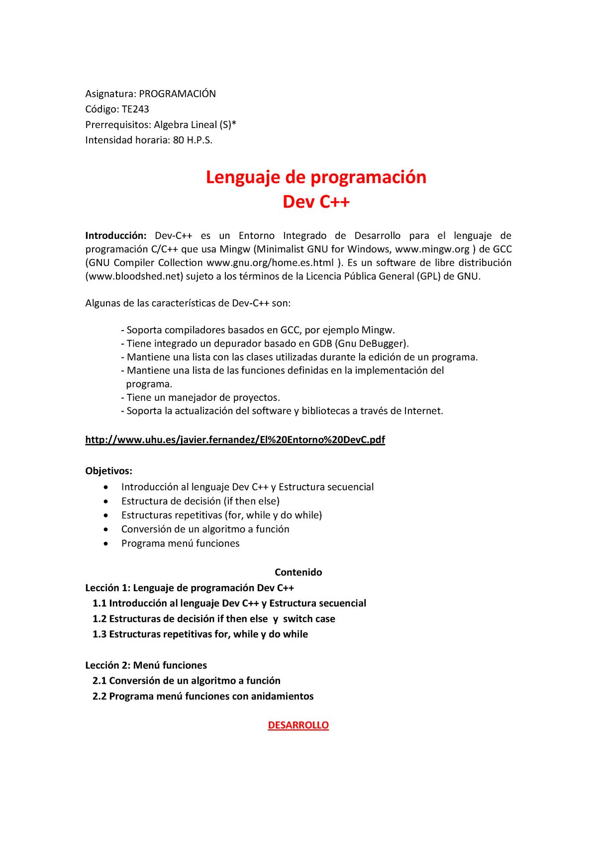 0202 Lenguaje De Programacion Dev C Inacap Studocu