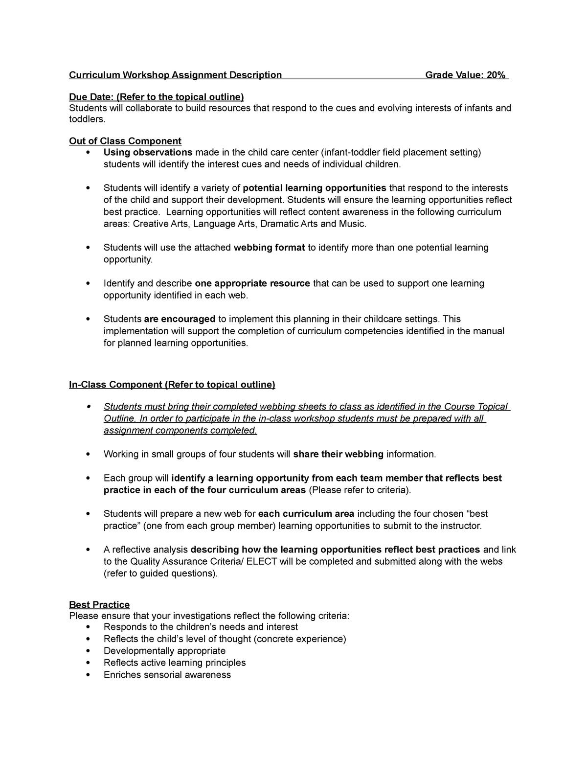 Curriculum Workshop Assignment Description Grade Value - StuDocu
